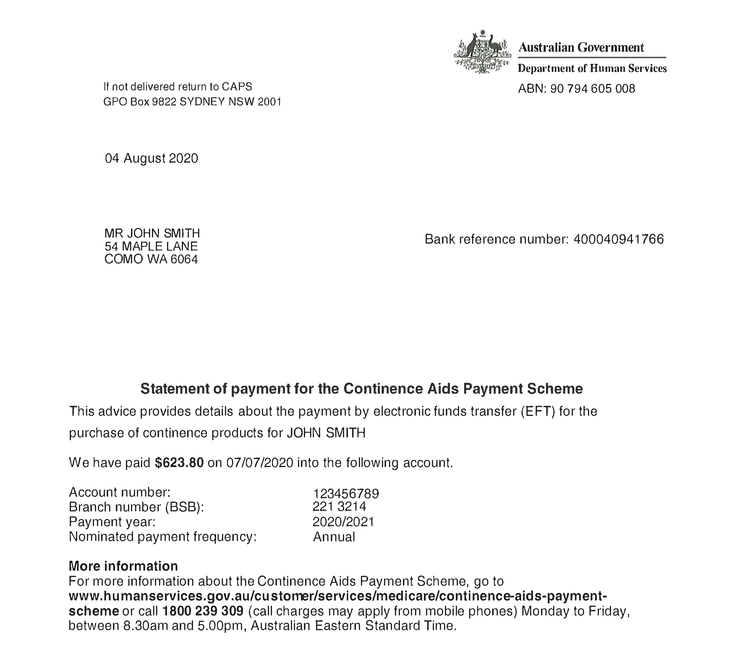 Sample CAPS Statement of Payment