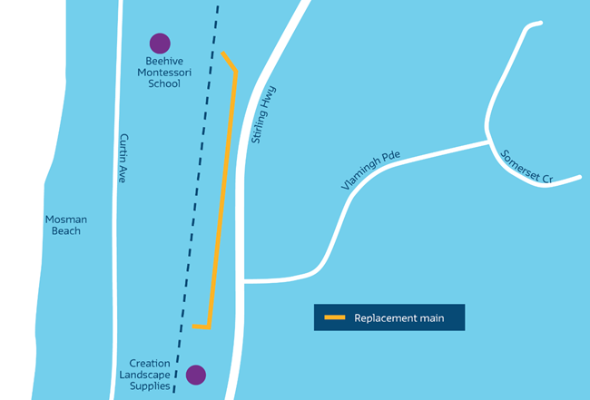 Stirling Highway Pipe Renewal Works Map
