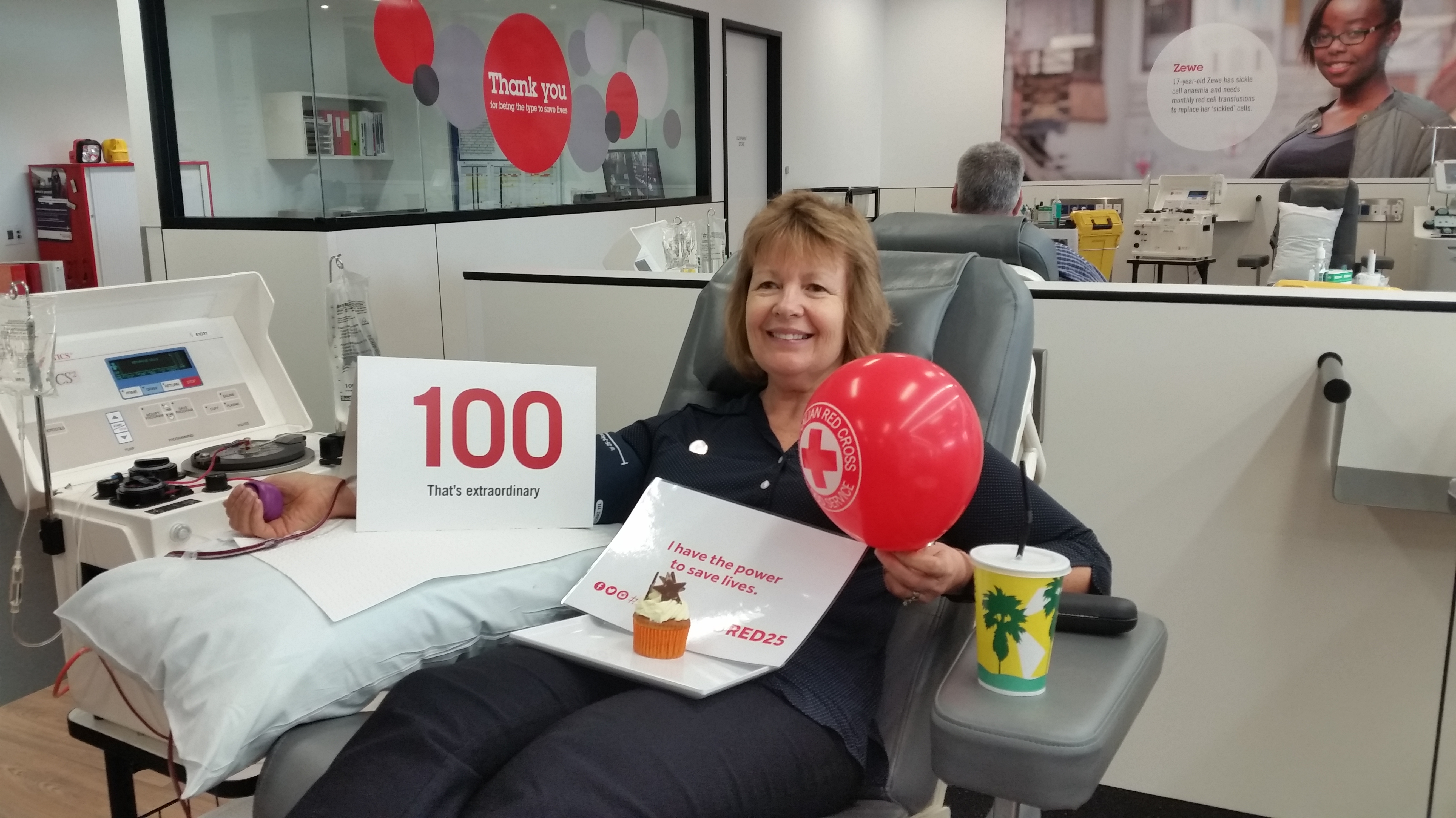 Water Corporation Red Cross coordinator, Chris, makes her 100th blood donation
