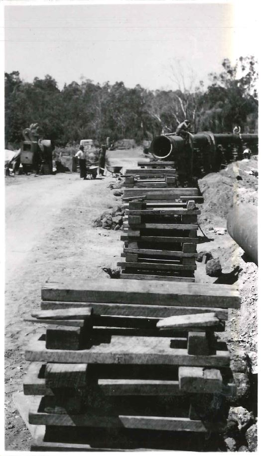 Construction work on the Great Southern Towns Water Supply Scheme at the Collie River Crossing in 1958