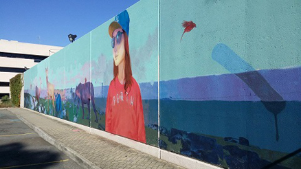 Girl and landscape mural created at our Leederville office as part of PUBLIC2015