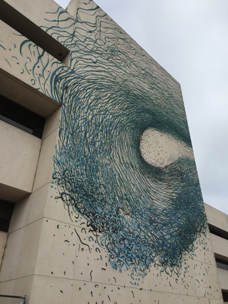 Wave mural created on the external wall of our Leederville office as part of PUBLIC2015